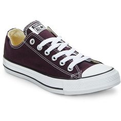 Converse Unisex Core Converse All-Star Low-Top Lace-Up Sneakers ($55) ❤ liked on Polyvore featuring shoes, sneakers, black cherry, rubber sole shoes, low top, black trainers, black lace up sneakers and round toe sneakers