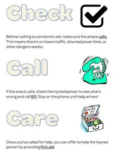 Girl Scout First aid badge, pin for Daisy, Brownie, Junior and beyond! Check, call, care worksheet
