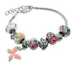 Multi-Colored Murano Style Glass Beads and Charms Bracelet, 7.5 + 1 Extender
