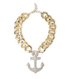 Oversized Anchor Chain Statement Necklace   Fashion Necklace   HOTTT.COM