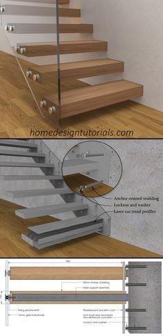Learn how to design and build cantilevered stairs by understanding the design principles and physics behind the construction. Manufacturing drawings and 3D model available for purchase #cantilever #staircase #floating #steps #cantilevered #fixing #detail Cantilever Stairs, Metal Stairs, Floating Staircase, Luxury Homes Dream Houses, Blog Images, Design Tutorials, Physics, Architecture Design, Construction