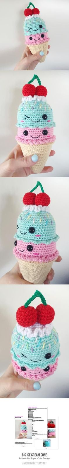 cutest kawaii ice cream cone crochet amigurumi mini friend with a cherry on top Big Ice Cream Cone Amigurumi Pattern~ (Nova asked for the white bunny ice cream cone, and Zephyr wants a popsicle)