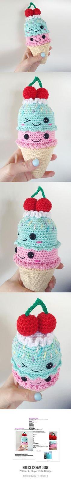 cutest kawaii ice cream cone crochet amigurumi mini friend with a cherry on top Big Ice Cream Cone Amigurumi Pattern~ (Nova asked for the white bunny ice cream cone, and Zephyr wants a popsicle)