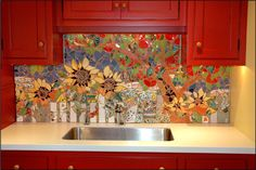 Picket Fence and Apple Orchard,  Mosaic Mural by Therese Desjardin (I so want this for my kitchen.)