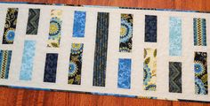 Modern Quilted Table Runner in Blues and Greens
