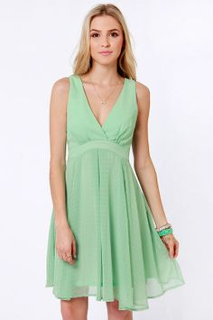 Pretty Mint Green Dress - Chiffon Dress - $51.00