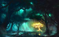 Fantasy Forest Lighting Tree Art HD Wallpaper 2880x1800 Fantasy forest Fantasy landscape Environment concept art