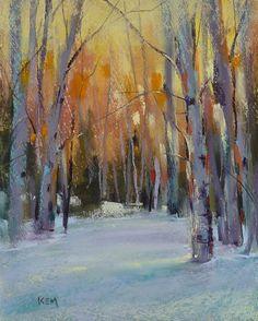 Winter Snow Landscape ASPEN TREES Original Pastel Painting 8x10  by Karen Margulis psa