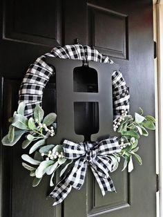 Front Door Decor Discover Buffalo Plaid Wreath White and Black Wreath Lambs Ear Wreath Monogram Winter Wreath Everyday Wreath Buffalo Check Spring Wreath Wreath Crafts, Diy Wreath, Wreath Ideas, Tulle Wreath, Monogram Wreath, Diy Crafts, Letter Wreath, Burlap Wreath Tutorial, Wreath Making