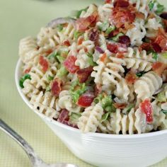 Ranch BLT Pasta Salad - made my own version with these general ingredients, tasted great:  1 tomato, 3 chicken thighs, 10-12 strips bacon, 1 cup Hidden Valley ranch (powder mix, 3/4 cup mayo, 1/2 cup milk), 1 13-oz box pasta