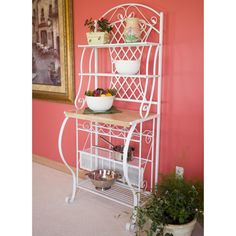 Enhance a sunny wall in your kitchen or dining area with this White Metal Bakers Rack with Wine Rack and Wooden Work Shelf. The Bakers Rack, has the. Wine Racks, Wine Bottle Storage, Wire Shelving, Metal Shelves, Metal Wood, Microwave Stand, Bakers Rack, Wholesale Furniture, Metal Chairs