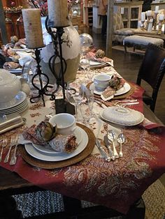 beautiful tablecloth Place Settings, Table Settings, Fall Vignettes, Thanksgiving Tablescapes, Tablecloths, Christmas Ideas, Diy Home Decor, Seasons, Autumn
