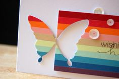 handmade greeting card: Half striped Chrissy butterfly ... panel of colored…