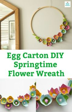 Who knew an egg carton could looks so lovely. A simple spring DIY egg carton wreath covered in beautiful egg carton flowers. diy How to Make a Beautiful Egg Carton Wreath with Egg Carton Flowers Egg Carton Art, Egg Carton Crafts, Spring Art, Spring Crafts, Flower Crafts, Diy Flowers, Flower Making Crafts, Potted Flowers, Paper Flowers