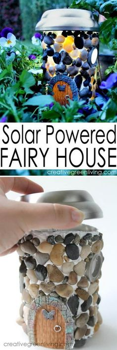 This Solar Light Fairy House is a cute diy and the results really. Informations About This Solar . Solar Light Crafts, Diy Solar, Solar Lights, Fairy Lights, Fairy Crafts, Fairy Garden Houses, Solar Fairy House, Fairy Gardening, Organic Gardening