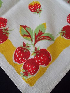 40's 50's  Vintage White Strawberry TableCloth  w/ Yellow Border 32 x 36  Square