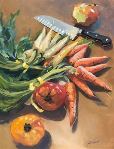 "Daily Paintworks - ""Dinner Prep"" - Original Fine Art for Sale - © Heather Martin Fruit Photography, Fine Art Photography, Food Art Painting, Gouache Painting, Fruit Sketch, Veggie Art, Fruits Drawing, Fruit Displays, Still Life Art"