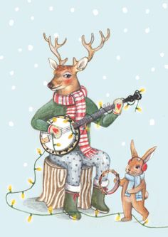 Christmastcard illustrated by @suzanthooft ; seen on HappyMakersBlog.com