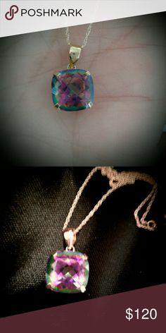 Gorgeous Mystic Topaz 10k necklace. Nice Mother's Day gift  18inch 10k chain  Real solid 10k Pendant  Real Gem  Comes with a pretty black gift box. Jewelry Necklaces
