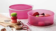 Tupperware pink cookie canister