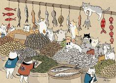 貓咪辦年貨年年有魚喵山喵海 魚山魚海 摘自貓頭鷹出版《浮世貓繪》