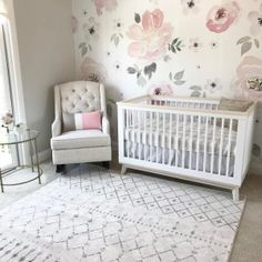 Babyletto crib with floral wallpaper behind it (showcases the white crib), rug i. Babyletto crib w Baby Bedroom, Baby Room Decor, Rustic Baby, Girl Room, Nursery Ideas, Nursery Themes, Girl Nursery Rugs, Navy Girl Nursery, Nursery Modern