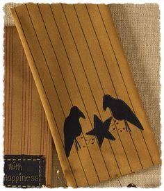 Crow and Star Appliqued Dishtowel Towel
