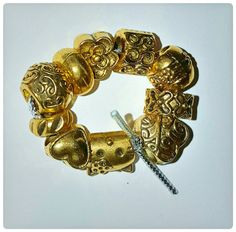 """10 Euro Beads 3/8"""" - Gold Plated Metal Alloy - for European Bracelets, Jewelry making - Hearts Kitty Flower Spacer"""