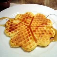 Deluxe Waffles Allrecipes.com ** I wont be making these again. They werent thick they were somewhere in between crispy and soft. They were like weird cake
