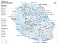 Carte des rivières et cours d'eau de La Réunion