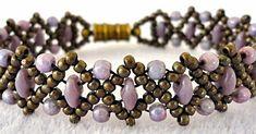 "DUO BOBBLE BAND VARIATION   11/0 seed beads Miyuki ""Metallic Olive Brown"" (11-457H)  SuperDuo beads ""Opaque Purple""  3mm druks ""Opaque A..."