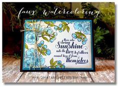 Connie uses a combo of alcohol and water in her aqua painter to faux-watercolour onto non-watercolour card stock. Genius idea on a beautiful card. #stampinup