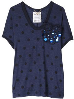 Polka Dots T-Shirts / ShopStyle: MUVEIL 水玉トップス
