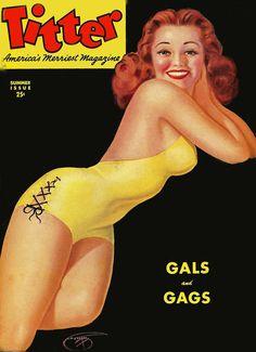 Vintage Pin-up Girl Art Magazine Cover Titter Billy Devorss 1944 Pretty Redhead Girls Magazine, Magazine Art, Magazine Covers, Trading Card Sleeves, Vintage Redhead, Kansas City Art Institute, Vargas Girls, Pretty Redhead, Art Trading Cards