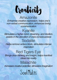 Creativity Stones meanings card - New age metaphysical healing crystals by SoulMakes