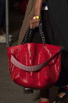 Sonia Rykiel at Paris Fashion Week Spring 2019 - Details Runway Photos, love this large red tote bag with perforated cutouts detail, Sonia Rykiel, Clutch Bag, Tote Bag, Fashion Bags, Paris Fashion, Cheap Fashion, Fashion Fashion, Fashion Women, Fashion Outfits