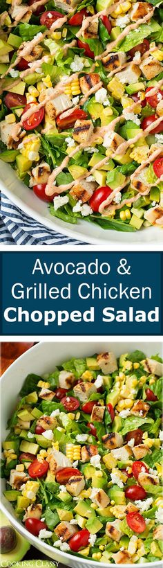 Avocado and Grilled Chicken Chopped Salad with Skinny Chipotle-Lime Ranch