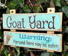 Funny Farm Animals Goat Yard Goat Sign Funny Goat Farm Sign by TheChickenStudio Goat Playground, Goat Pen, Cute Goats, Mini Goats, Funny Goats, Goat Care, Nigerian Dwarf Goats, Raising Goats, Farm Signs