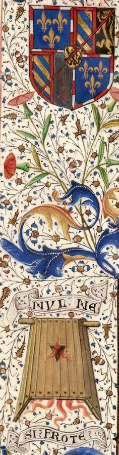 Armes, devise et emblème d'Antoine de Bourgogne (f°5v, détail) -- Les Croniques de Pisé, France, 1401-1500 [BNF, Ms Fr 9041]