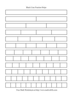 The Blackline Fraction Strips -- Unlabeled Math Worksheet Line Plot Worksheets, Fractions Worksheets, Free Math Worksheets, 3rd Grade Fractions, Fourth Grade Math, Math Fractions, Dividing Fractions, Equivalent Fractions, Multiplication Drills