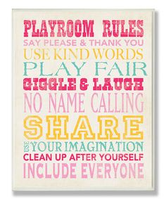 Loving this Pink & Yellow 'Playroom Rules' Canvas on #zulily! #zulilyfinds