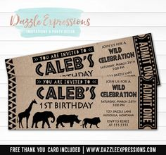 Celebrating an African safari birthday party soon? Invite your guests in style with this custom and affordable modern safari ticket birthday invitation. This design is characterized by it's brown kraft paper background and giraffe, elephant, lion and hippo silhouette art work. It is perfect to celebrate your little one
