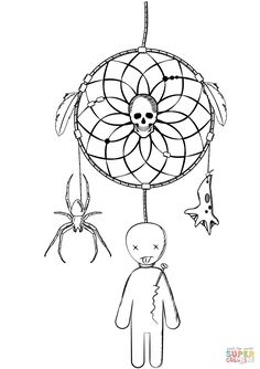 halloween-dreamcatcher-with-voodoo-doll-and-spider-coloring-page.png (1059×1500)
