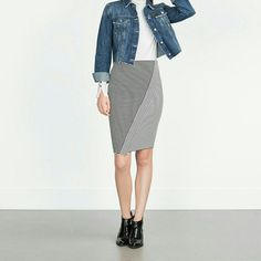 Zara skirt (1165) New with tag. Outer shell 98% polyester 2% elastane   Color Black / white.  Mid length skirt. Asymmetric hem. Elastic waist. Please let me know which size are you interested in so I can make separate list for you. Zara Skirts Midi