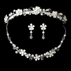 This Bridal Tiara set features elegant freshwater pearls & crystals with coordinating necklace and earrings.
