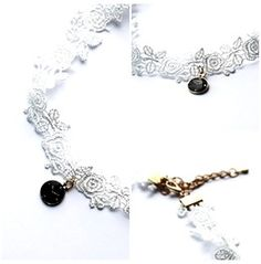 White Flower Lace Choker With Clock Charm