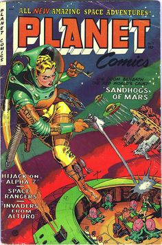 Classic cover by Maurice Whitman from Planet Comics #71, published by Fiction House, Summer 1953.
