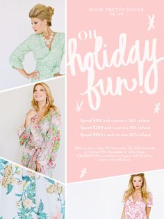 Plum Pretty Sugar / These robes are gorgeous and make the prettiest gifts. Great for getting ready with your bridal party! And they're on sale! See promo attached. Ends tonight, 12/2 at 11:59. Click through for details.