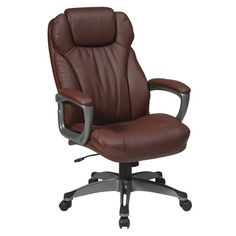 Office Star Eco Leather Executive Office Chair with Padded Arms | Wayfair Supply