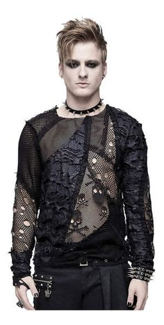 Devil Fashion Black Gothic Punk Net Skull Long Sleeve T-Shirt for Men Punk Outfits, Gothic Outfits, Gothic Dress, Gothic Men, Gothic Tops, Punk Fashion, Gothic Fashion, Fashion Black, Gothic Shirts